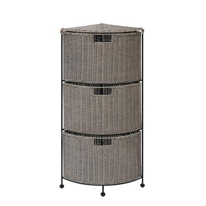 166054 Autumn 3-Tier Corner  Drawer  in Grey Nat Wicker and Black