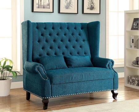 Furniture of America Alcacer CMBN6223TL Bench Blue, CM-BN6223TL