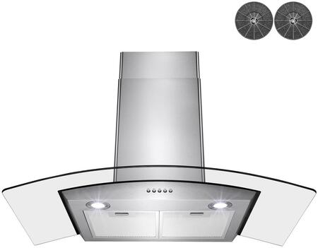RH0439 36″ Convertible Wall Mount Range Hood with 343 CFM  Glass Canopy  Push Button Controls and LED Lighting in Stainless