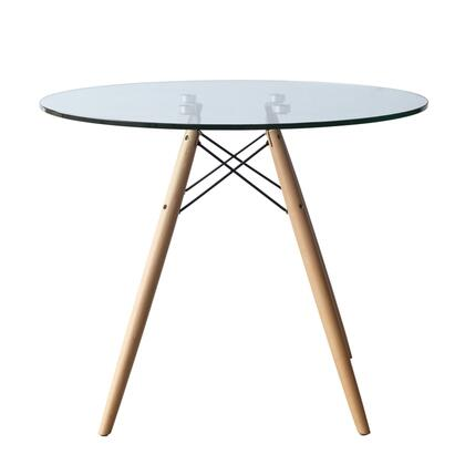 Fine Mod Imports WoodLeg FMI401042CLEAR Dining Room Table, Image 1