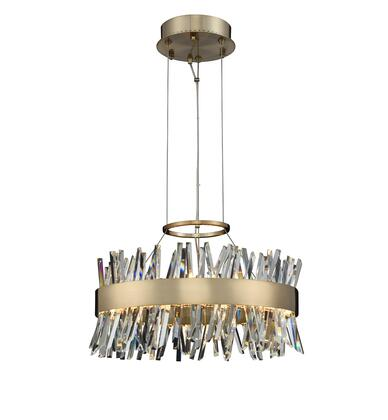 Glacier 030253-038 20″ LED Round Pendant in Brushed Champagne Gold Finish with Firenze Crystal Spears