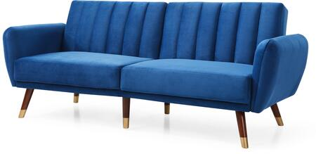 Siena Collection G0153-S 83″ Sofa Bed with Velvet Upholstery  Channel Tufting  Stitched Detailing and Wood Legs in Navy