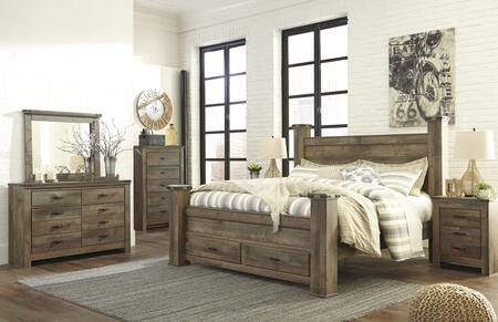 B446KSBCHDMN 5-Piece Bedroom Set with Queen Size Storage Bed + Chest Drawer + Dresser + Mirror + Nightstand  in