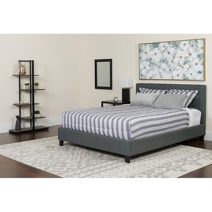 HG-BMF-31-GG Tribeca Queen Size Tufted Upholstered Platform Bed in Dark Gray Fabric with Memory Foam