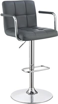121096 25 - 31 Bar Stool with Adjustable Height  Swivel  Faux Leather Upholstery  Tufted Seating  Chrome Metal Base  Armrests  Footrests and Padded