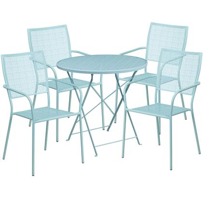 CO-30RDF-02CHR4-SKY-GG 30″ Round Sky Blue Indoor-Outdoor Steel Folding Patio Table Set with 4 Square Back