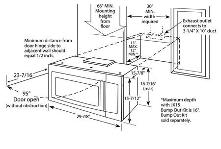 GE  JNM3163 Over The Range Microwave , Dimensions