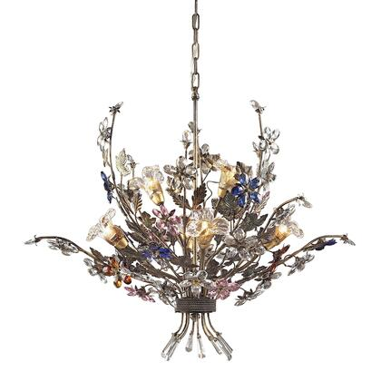 9107/4+2 Brillare 6-Light Chandelier in Brozed Rust with Multi-Colored Floral