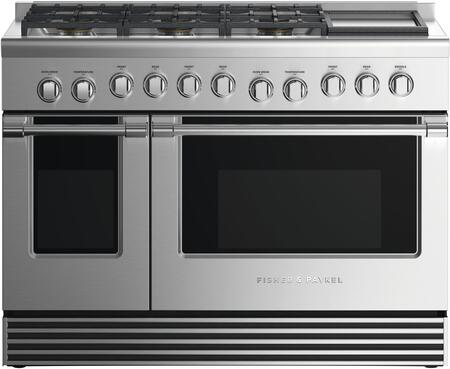 Fisher Paykel Professional RGV2486GDNN Freestanding Gas Range Stainless Steel, Front view