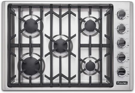 """Viking VGSU53015BSS 30"""" Natural Gas Cooktop, Stainless Steel Simmer Setting Black Chrome Knobs"""