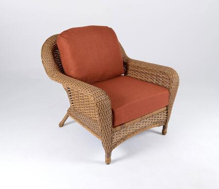 Sea Pines Collection LEX-C1-M-RAVEB Club Chair in Mojave Wicker and Rave Brick Fabric