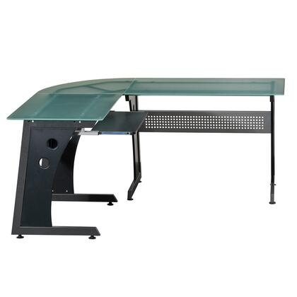 RTA-3803-GPH06 Deluxe L-Shaped Tempered Frosted Glass Top Computer Desk with Pull Out Keyboard Panel  in