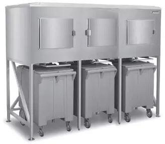 ICS-3 90″ Three Bay Ice Express System with 1800 lbs. Storage Capacity  Stainless Steel Construction and Polyethylene Ice Carts in Stainless