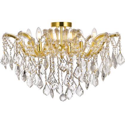 2800F24G/EC Maria Theresa 6 Light Gold Flush Mount Clear Elegant Cut