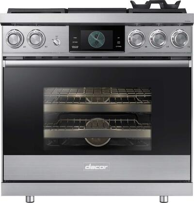 Dacor Contemporary DOP36M94DLS Freestanding Dual Fuel Range Stainless Steel, Front View