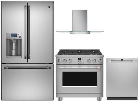4 Piece Kitchen Applinaces Package with CFE28TSHSS 36″ French Door Refrigerator  CGY366P2MS1 36″ Gas Range  CVW73612MSS 36″ Wall Mount Convertible
