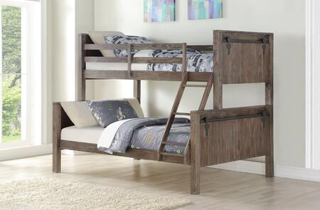 9218-TFBS 81″ Twin Over Full Bunkbed with Built in Ladder  Barn Door Panel Headboard and Footboard in Brushed