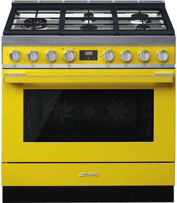 Smeg Portofino CPF36UGMYW Freestanding Dual Fuel Range Yellow, CPF36UGMYW