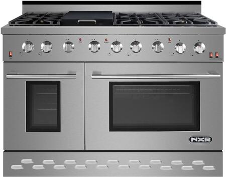 """SC4811 48"""" Stainless Steel Freestanding Natural Gas Range with 7.2 cu. ft. Total Capacity 6 Burners Griddle Black Porcelain Drip Pan and Cast Iron"""