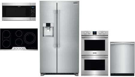 5 Piece Kitchen Appliances Package with 36″ Side by Side Refrigerator  30″ Electric Double Wall Oven  36″ Electric Cooktop  24″ Built In Microwave