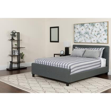 HG-BMF-30-GG Tribeca Full Size Tufted Upholstered Platform Bed in Dark Gray Fabric with Memory Foam