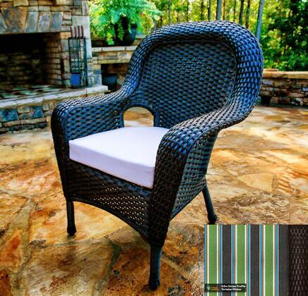 Sea Pines Collection LEX-DC-T-ECHO Dining Chair in Tortoise Wicker and Echo Stripe Truffle Fabric