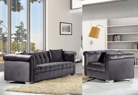 Meridian Kayla 6152PCARMKIT2 Living Room Set Gray, 2 PC Set