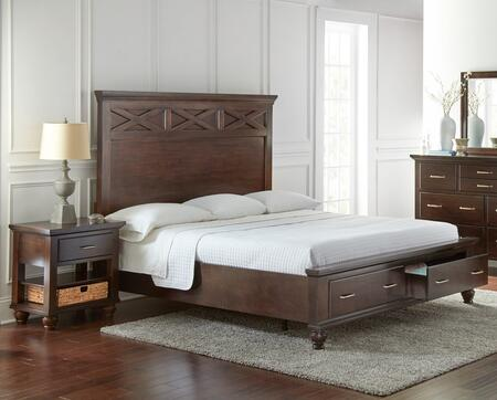 Grayson Collection GR700KN 2-Piece Bedroom Set with King Storage Bed and Nightstand in Dark Brown