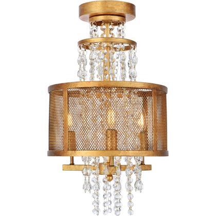 1540F12GI Legacy 3 Light Golden Iron Flush Mount Clear Royal Cut