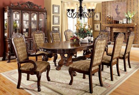 Furniture of America Medieve CM3557CHDT8SC Dining Room Set Brown, Main Image kit