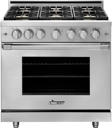 """Dacor Professional HGPR36SNGH Freestanding Gas Range Stainless Steel, HGPR36SNGH 36"""" Natural Gas High Altitude Freestanding Gas Range"""