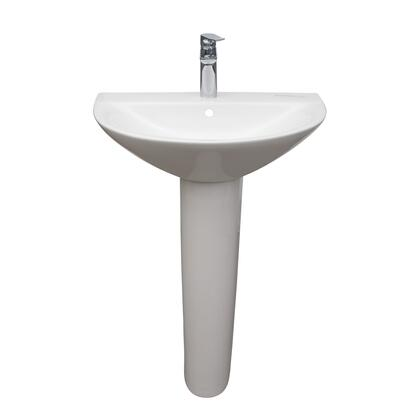 3-1231WH Morning 650 Pedestal Lavatory with 1-Faucet Hole  Overflow
