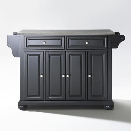 Alexandria Collection KF30002ABK Stainless Steel Top Island/Cart in Black