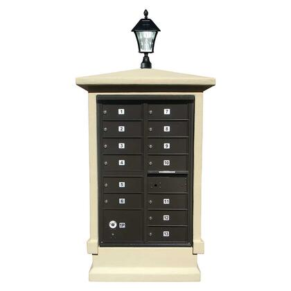 EVMC-SHRT-SS-SL Estateview stucco CBU Mailbox Center  SHORT pedestal (column only) in Sandstone Color with Bayview Solar
