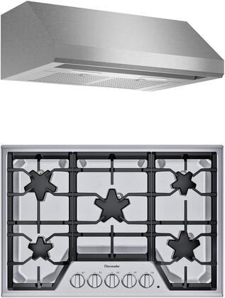 2 Piece Kitchen Appliances Package with SGS305TS 30″ Gas Cooktop and HMWB30WS 30″ Wall Mount Convertible Hood in Stainless