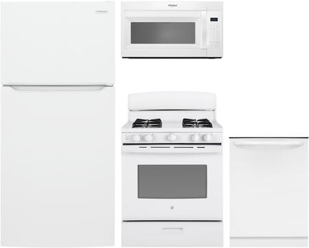"4 Piece Kitchen Appliances Package with Frigidaire FFHT1835VW 30"" Freestanding Top Freezer Refrigerator GE JGBS30DEKWW 30"" Freestanding All Gas"