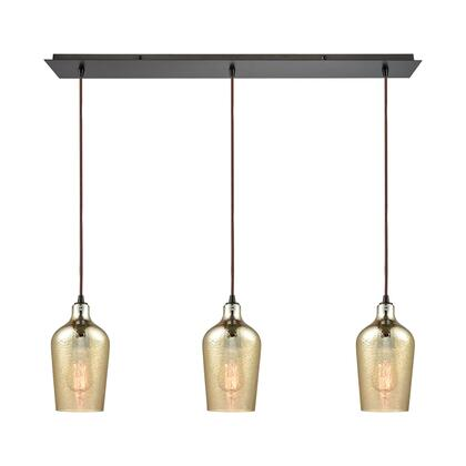 10840/3LP Hammered Glass 3 Light Linear Pan Fixture in Oil Rubbed Bronze with Hammered Amber Plated