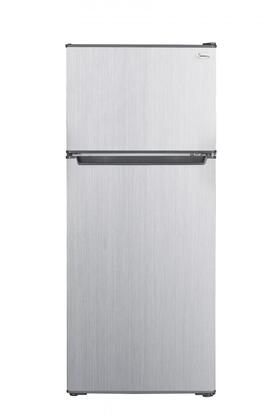 """RC-2450SLG 19"""" Top Freezer Compact Refrigerator with 4.5 cu. ft. Capacity Adjustable Glass Shelves and Reversible Door in Stainless"""