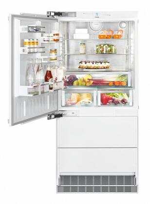 36″ Bottom Freezer Refrigerator with 84″ Height Door Panels and  Oval Handles in Stainless