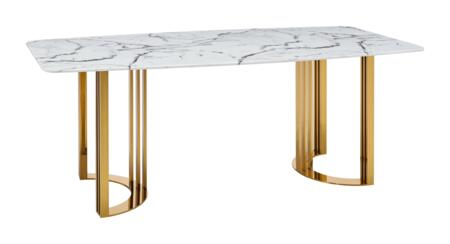131DININGTABLEGOLD 79″ Dining Table with Marble Top and Stainless Steel Base in