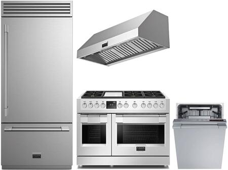 4 Piece Kitchen Appliances Package with F7PBM36S1R 36″ Bottom Freezer Refrigerator  F6PDF486GS1 48″ Dual Fuel Gas Range   F6PH48DS1 48″ Wall Mount