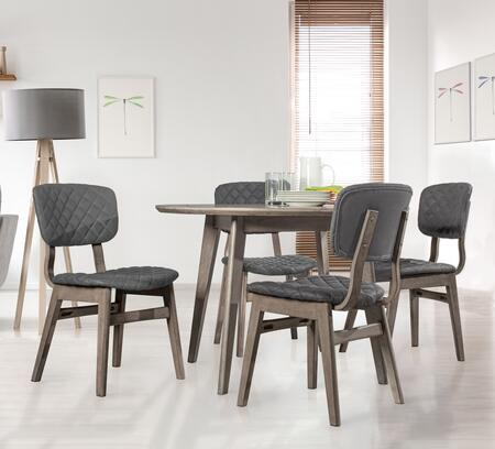 Kingston Collection 5035DTB5 5PC Modern Round Wood Dining Table with 4 Diamond Stitch Upholstered Side Chairs in Weathered