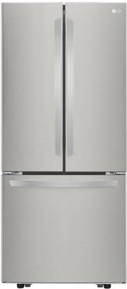 """LFCS22520S 30"""" Energy Star Freestanding French Door Refrigerator with 21.8 cu. ft. Capacity Ice Maker Smart Cooling System 2 Crisper Drawer LED"""