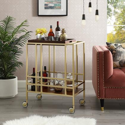 Biony Collection BC123-09WT-AC Bar Cart with Removable Serving Tray  Wine Bottle and Stemware Storage and Casters in Gold and Walnut