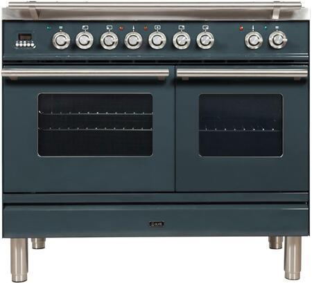 Ilve Professional Plus UPDW1006DMPGU Freestanding Dual Fuel Range Blue Grey, UPDW1006DMPGU Nostalgie Blue Grey