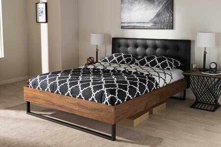 Baxton Studio Mitchell BBT6652BLACKKING Bed Black, BBT6652 Black Queen 6