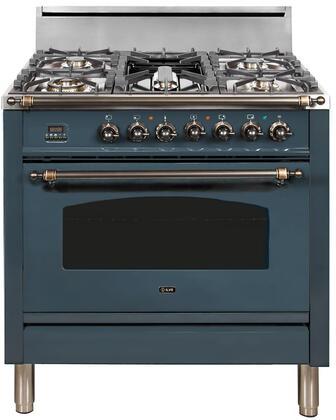 Ilve Nostalgie UPN90FDVGGGUY Freestanding Gas Range Blue, Blue Grey Custom RAL Color