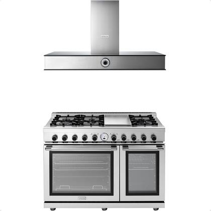 """2-Piece Kitchen Appliances Package with RN482SPSS 48"""" Freestanding Dual Fuel Range and HN481ANS 48"""" Wall Mount Hood in Stainless"""