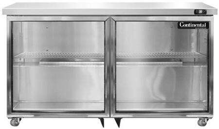 SW48-U-GD 48″ Undercounter Display Refrigerator with 13.4 cu. ft. Capacity  2 Section  LED Lighting  Castors  1/4 HP  in Stainless