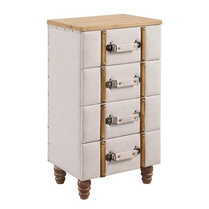 Linon Sarah AC104ALM01U Cabinet, AC104ALM01U SARAH FOUR DRAWER PADDED CHEST CABINET
